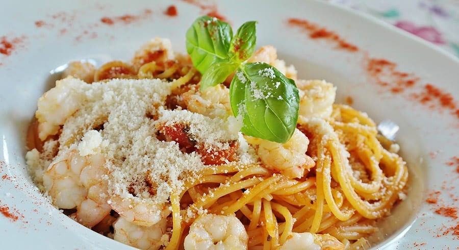Lunch menu Prawn Spaghetti with parmesan cheese